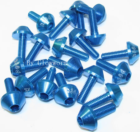 Blue Alum Screw package (10 pairs)
